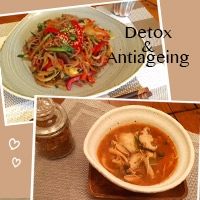 冬太り解消デトックスレシピ-野菜たっぷりチャプチェ&キムチ味噌スープ